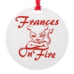 Frances On Fire Round Ornament