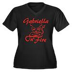 Gabriella On Fire Women's Plus Size V-Neck Dark T-