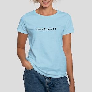 Front/back HTML tag <nerd girl> Light Tee