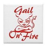 Gail On Fire Tile Coaster