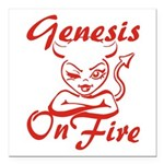 Genesis On Fire Square Car Magnet 3