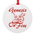 Genesis On Fire Round Ornament