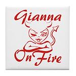 Gianna On Fire Tile Coaster