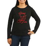 Gina On Fire Women's Long Sleeve Dark T-Shirt