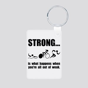 Triathlon Strong Aluminum Photo Keychain