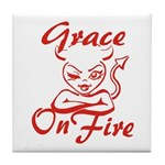 Grace On Fire Tile Coaster