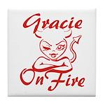 Gracie On Fire Tile Coaster