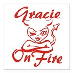 Gracie On Fire Square Car Magnet 3