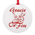 Gracie On Fire Round Ornament