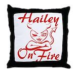 Hailey On Fire Throw Pillow
