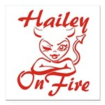 Hailey On Fire Square Car Magnet 3