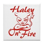 Haley On Fire Tile Coaster