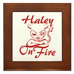 Haley On Fire Framed Tile