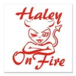 Haley On Fire Square Car Magnet 3