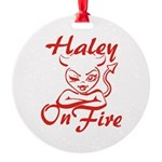 Haley On Fire Round Ornament