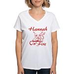 Hannah On Fire Women's V-Neck T-Shirt