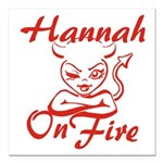 Hannah On Fire Square Car Magnet 3