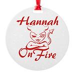Hannah On Fire Round Ornament