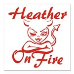 Heather On Fire Square Car Magnet 3