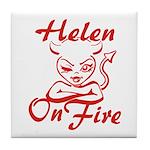Helen On Fire Tile Coaster