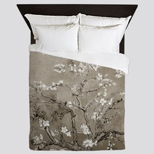 Almond Branches In Bloom (Sepia) Queen Duvet