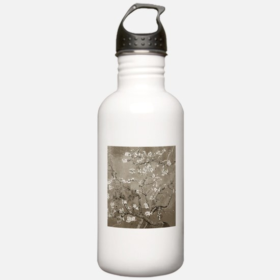 Almond Branches In Bloom (Sepia) Water Bottle