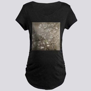 Almond Branches In Bloom (Sepia) Maternity Dark T-