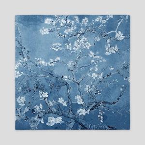 Almond Branches In Bloom (Blue) Queen Duvet