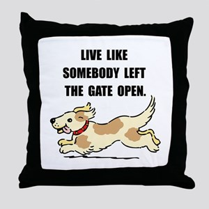 Dog Gate Open Throw Pillow