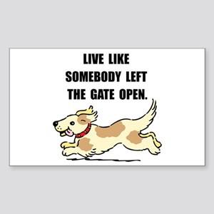 Dog Gate Open Sticker (Rectangle)