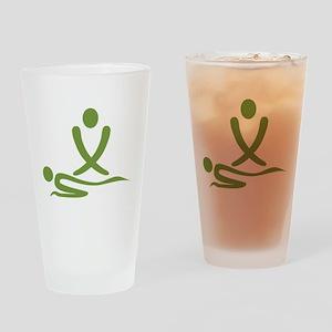 Green massage design Drinking Glass