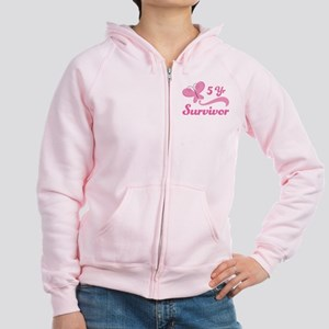 Breast Cancer 5 Year Survivor Women's Zip Hoodie