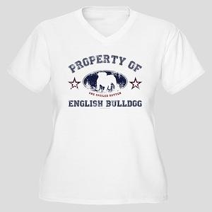 English Bulldog Women's Plus Size V-Neck T-Shirt