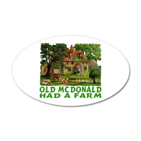 OLD MCDONALD HAD A FARM 20x12 Oval Wall Decal