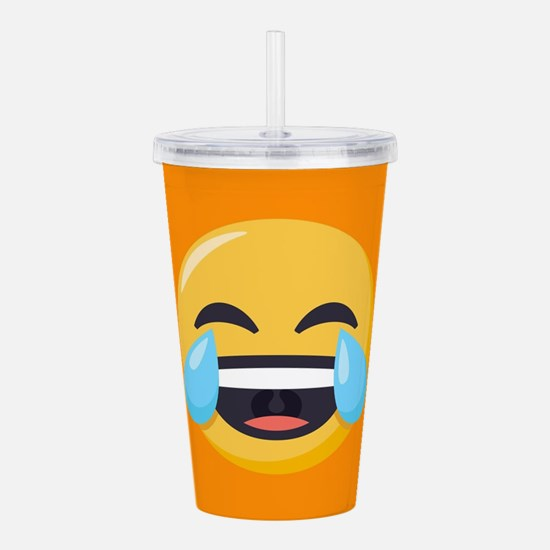 Crying Laughing Emoji Acrylic Double-wall Tumbler