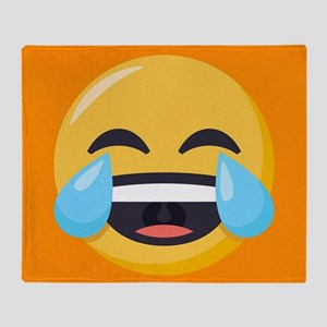Crying Laughing Emoji Throw Blanket