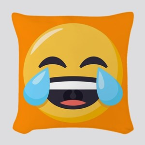 Crying Laughing Emoji Woven Throw Pillow