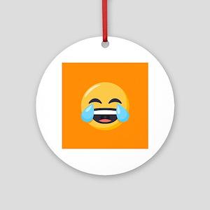 Crying Laughing Emoji Round Ornament