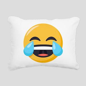 Crying Laughing Emoji Rectangular Canvas Pillow