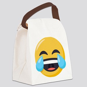 Crying Laughing Emoji Canvas Lunch Bag