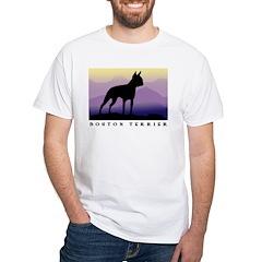 boston terrier dog purple mts. White T-Shirt