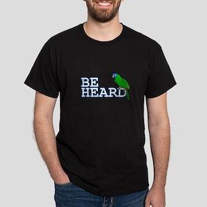 Be Heard - Blue Crown Conure Black T-Shirt