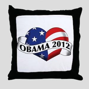 Obama 2012 Stars and Stripes Heart Banner Throw Pi
