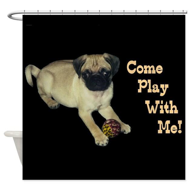 Pug Puppy Shower Curtain By Pattyspetart