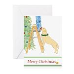 Yellow Lab Trims Tree Christmas (pk Greeting Cards