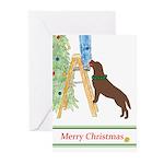 Chocolate Lab Trim Tree Christmas Greeting Cards