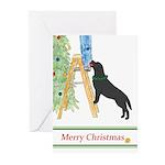 Black Lab Trims Tree Christmas (pk Greeting Cards