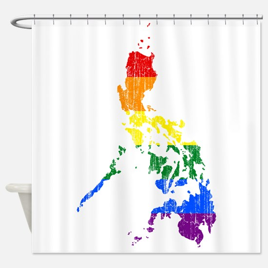 Philippines Rainbow Pride Flag And Map Shower Curt