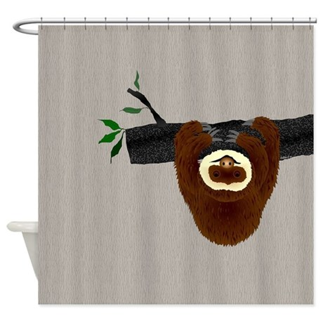 Sloth shower curtain by ellejai for Sloth kong shower curtain
