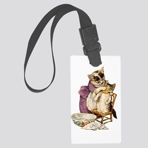 Miss Moppet Gets a Bath Large Luggage Tag